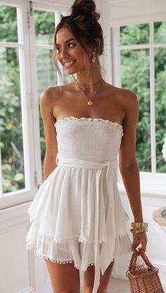 Casual Summer Dresses, Cute Summer Outfits, Cute Casual Outfits, Spring Outfits, White Casual Dresses, Casual Sundresses, Cute White Dress, White Dress Summer, Dress For Beach