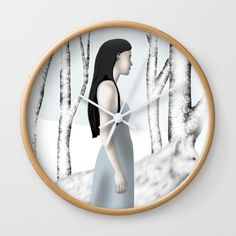 """Available in natural wood, black or white frames, our 10"""" diameter unique Wall Clocks feature a high-impact plexiglass crystal face and a backside hook for easy hanging. Choose black or white hands to match your wall clock frame and art design choice. Clock sits 1.75"""" deep and requires 1 AA battery (not included). #girlwithherdog #walkingintheforestbarefoot #walkinginthesnowbarefoot #mandilynnart"""