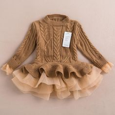 Online Cheap 2015 Autumn Winter Girls Knit Sweater Dresses Baby Girl Tulle Lace Tutu Winter Jumper Pullover Dress Princess Children Girls' Sweaters By Onlinetopshop | Dhgate.Com
