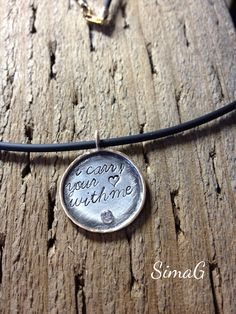 NEW - my exclusive jewelry tags - I carry your heart with me - silver and gold framed disc-     Personalized Charm Necklaces-SIMAG on Etsy, $70.00