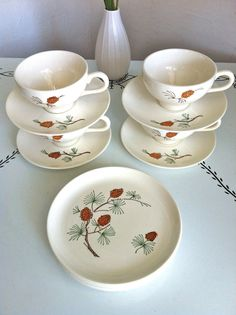 vintage pinecone stoneware, 4 teacups & saucers & 4 dessert plates by the gleaner project, $24.00
