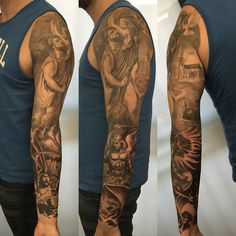 My Sleeve Tattoo completed - St Christopher and St Michael