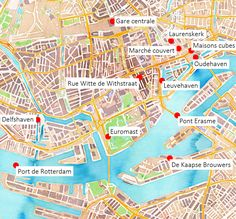 Carte des principaux lieux touristiques de #Rotterdam. #Hollande #PaysBas