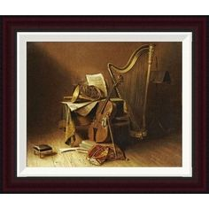 Global Gallery Still Life With Musical Instruments by American School Framed Painting Print Size: