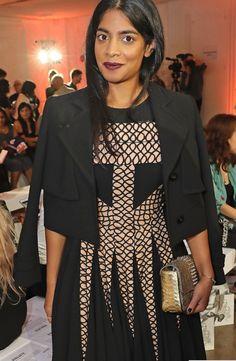 Beautiful Amara Karan wearing Bora Aksu Aw16  Lace dress and Box Jacket  in September 2016