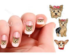 Nail Decals, Water Slide Nail Transfers, Dog Nail Stickers, Yorkie, Chihuahua, Pomeranian or Pug - Face or Full Body. $2.45, via Etsy.
