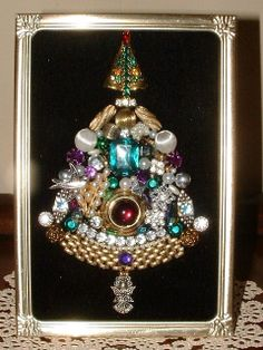 Vintage Jewelry Miniature Framed Jeweled Christmas Tree ~ Sparkling Jewels on Black Velvet