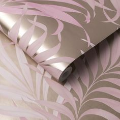 Yasuni by Graham & Brown - Blush - Wallpaper : Wallpaper Direct Blush Wallpaper, White Wallpaper, Painted Leaves, Hand Painted, Geometric Floral Wallpaper, Graham Brown, Gold Background, Tropical, True Colors