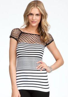 #bebe Open Weave Shoulder Stripe Top - Buy New: $44.00