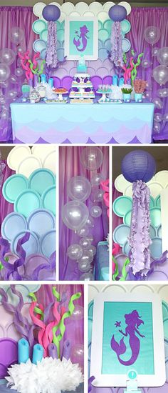 The Plate Backdrop all done with green plates for a Little Mermaid Birthday Party Mermaid Theme Birthday, Mermaid Themed Party, Baby Shower Mermaid Theme, Mermaid Babyshower Ideas, Mermaid Baby Showers, Mermaid Party Games, Mermaid Party Decorations, Decoration Party, Balloon Decorations