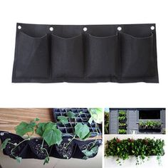 Garden Vertical Gardening Hanging Wall 4 Pockets Planting Bags Seedling Wall Planter Growing Bags - Newchic Mobile.