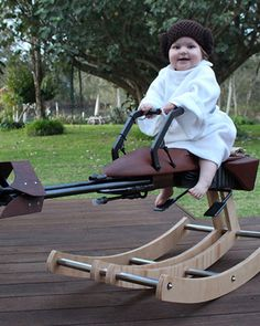 The Force is strong with this one. Twitter user @Tez_Gelmir created this  custom-made Star Wars-themed speeder bike rocking horse for his one year  old daughter on her first birthday, and it turned out to be pretty awesome.  There's a video breakdown and some in-progress photos of the rocker, and he  put the entire how-to guide up on Instructables in case you want to  replicate it yourself.  Via: LaughingSquid