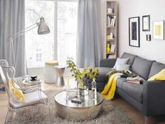 18 Dark Grey Sofa Dove Grey Curtains Yellow Textiles And A Vase