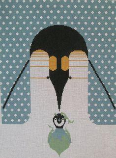 Charley Harper Needlepoint<BR>Brrrrrrthday (In Stock)