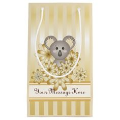 Baby Shower | Kids Birthday Koala Animal Faux Gold Small Gift Bag - birthday diy gift present custom ideas