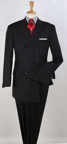 Perfect for holiday dinners: 100% wool double breasted suit with expandable waist. #mensfashion #menssuits #mensstyle
