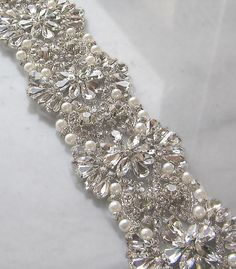 Crystal Rhinestone Trim, Beaded Rhinestone Bridal Applique for Wedding Gown or Sash, 24 Wedding Dress Sash, Wedding Belts, Fit And Flare Wedding Dress, Bridal Sash, Bridal Belts, Wedding Dresses, Lesage, Rhinestone Appliques, Pink Bling