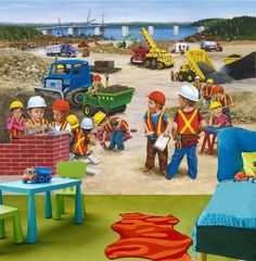 1000 images about amazing children murals murales pour for Construction site wall mural