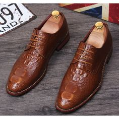 Russet Crocodile Leather Lace Up Wedding Prom Dress Oxford Shoes Men SKU-1100064