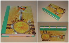 Citrus theme - coptic stich journals made from colorful paper