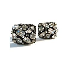 Vintage Kramer rhinestone clip earrings japanned settings designer... ($45) ❤ liked on Polyvore featuring jewelry, earrings, rhinestone clip earrings, clip earrings, vintage clip earrings, vintage clip on earrings and clip back earrings