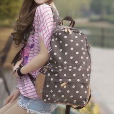 Fresh small polka dot canvas school bag female casual backpack bag female vintage school bag-inBackpacks from Luggage  Bags on Aliexpress.com $24.88