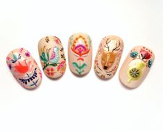 A co powiecie na...🙈 wiosenne folkowe zdobienia? 💕 #spring #sun #summer #folk #folknails #folklor #flower #print #floral #paznokcie #mani #manicure #manicurehybrydowy #nail #nailart #art #painting #architecturestudent #indigolovers #manicuremisteromilano #paznokciekrakow #nailsoftheday #inspiration #nude #happyeaster #easter Art Database, Folklore, Nail Art Designs, Nailart, Manicure, Spring, Pattern, Painting, Inspiration