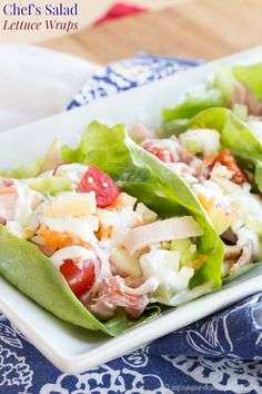 Chef's Salad Lettuce Wraps - turning your favorite salad recipe into finger food makes it even more fun and delicious Low Carb Dinner Recipes, Delicious Dinner Recipes, Lunch Recipes, Salad Recipes, Lettuce Wrap Recipes, Lettuce Wraps, Veggie Wraps, Healthy Chef, Healthy Recipes