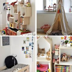 We are loving this colourful children's bedroom with so many cute toys and decorations we want to move in ourselves. The storage cabinet is just genius. Kids Bedroom, Kids Rooms, Cute Toys, Shelving, Storage, Inspiration, Color, Furniture, Interiors