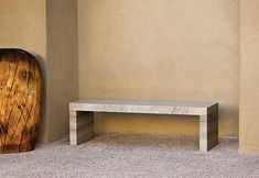 Clean lined stone bench for under arches by pool and family room-Sierra bench by Stone Forest
