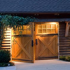 - door style  - fluted glass lets in light without visibility from outside  - large hinge doors for shed bay (an idea - not wild about this particular look)