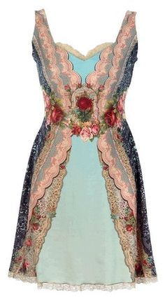 Michal Negrin Sleeveless Tunic Dress Made with Victorian Floral Pattern Enhanced with Hand-Dyed Lace Strips and Swarovski Crystals Michal Negrin, Pretty Outfits, Cute Outfits, Dress Outfits, Fashion Dresses, Woman Dresses, Vintage Dresses, Vintage Outfits, Boho Fashion