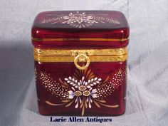 French Ruby Red Glass Enameled Casket/Box Dore Bronze Mounts