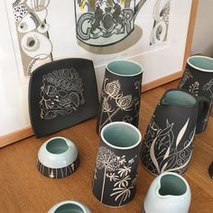 "13 Likes, 3 Comments - Dial House Gallery (@dial_house_gallery) on Instagram: ""Just arrived a selection of Jo Walker's fabulous sgraffito stoneware jugs, vases and sugar bowls…"""