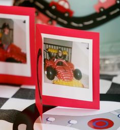 """Outrageous Kids Birthday Party Trends  For one boy's celebration, Debi Lilly had a life-size racecar built entirely from balloons, and then gave guests the chance to sit """"inside"""" and have their picture taken. Afterward, each child was able to take home a cute card with their Polaroid picture inside."""