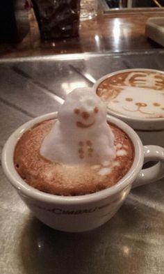 Snowman Coffee (Japanese 3D Latte Art)|スノーマン カプチーノ