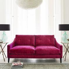 Deep Dream Sofa Collection raspberry velvet - http://www.grahamandgreen.co.uk/deep-dream-sofa-collection
