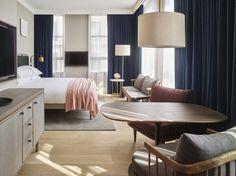 Designed by Anda Andrei and Danish interior design firm Space Copenhagen, 11 Howard in New York City bears the Bauhaus DNA of warm Scandinavian minimalism and New York industrial sleekness.