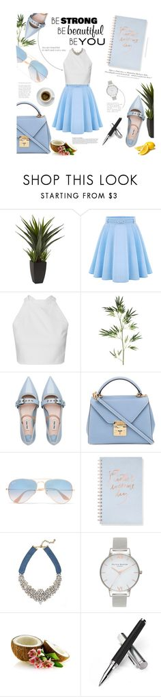 May 12th, 2017 :) by nina1596 on Polyvore featuring WithChic, Miu Miu, Mark Cross, Olivia Burton, BaubleBar, Ray-Ban, Fringe, Pier 1 Imports, Aspinal of London and Zone