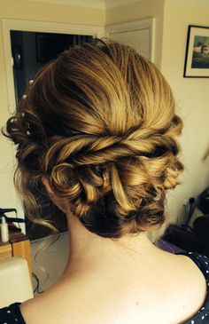 Wedding hair Up-do with twists, love wavy bun