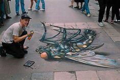 3D Chalk Sidewalk Art Images from Julian Beever