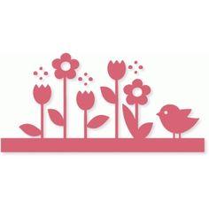Silhouette Design Store: flower garden border
