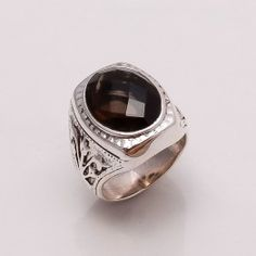 925 SOLID STERLING SILVER BLACK SOMKY RING SZ 8 ,  13 GRM