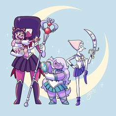 YESSSS - THEY ARE TOTTALLY THE OUTER SENSHI!! And Lapis is Hotaru! idk what that makes Jasper and Peridot....