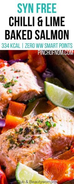 Chilli and Lime Baked Salmon – Pinch Of Nom Syn Free Chilli and Lime Baked Salmon Slimming World Fish Recipes, Slimming World Dinners, Slimming World Breakfast, Clean Eating Snacks, Healthy Eating, Chili, Pinch Of Nom, Baked Salmon Recipes, Lime Recipes