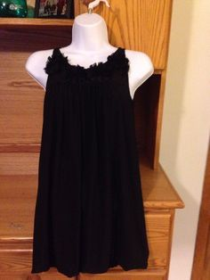 Girl's Designer Maria Casero Black Sleeveless Dress With Flowers | Size 12 #MariaCasero #Dressy