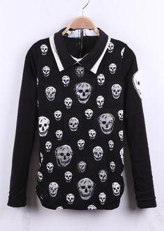 Black Rhinestoned Skull Print Zipper Back Contrast Collar Blouse