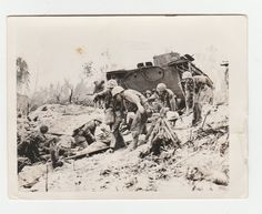 WW2 Philippines Photograph  army soldiers Tanks Wounded