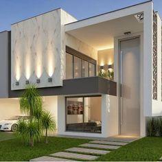 Por Mari e Veri Arquitetura, residência com características únicas e fachada clean! Bungalow House Design, House Front Design, Small House Design, Door Design, Terrace House Exterior, Dream House Exterior, Facade House, Modern House Facades, Modern Architecture House