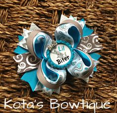 Little Biter Shark boutique bow by KotasBowtique on Etsy, $7.49